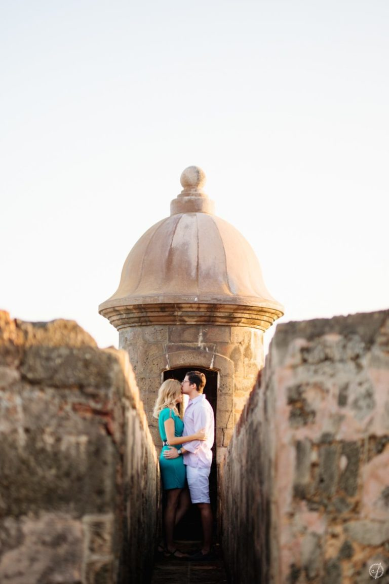 engagement photos at sunrise in Old San Juan, Puerto Rico by Camille Fontanez