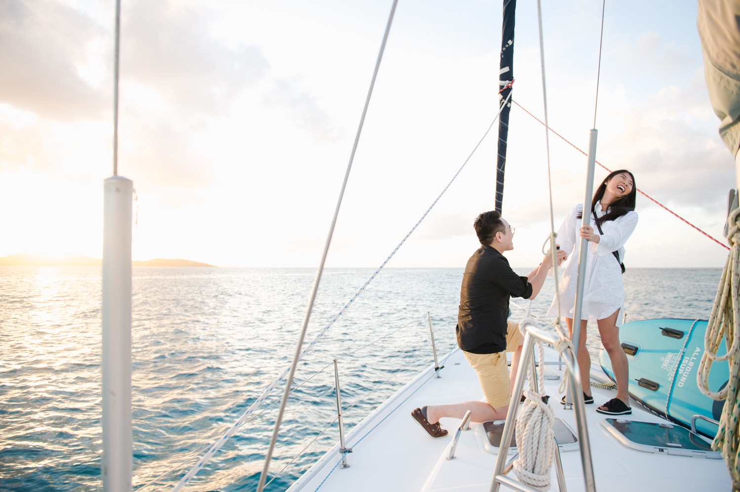 marriage proposal photos at a sailboat tour to Icacos Island by Puerto Rico wedding photographer Camille Fontz